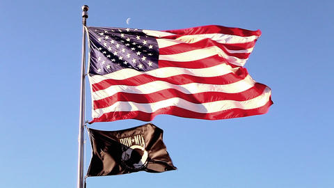 Static shot of American and POW/MIA flags at Korean War Veterans Memorial in Was Footage