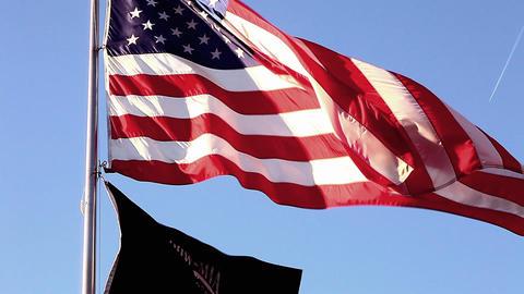 Tilt close-up shot of Korean War Veterans Memorial flags in Washington DC Footage