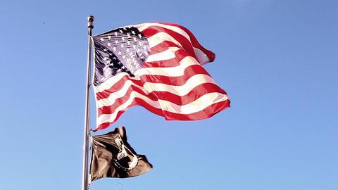 Static shot of flags at Korean War Veterans Memorial in Washington DC Footage