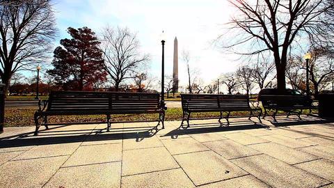 Long distance dolly shot of Washington Monument in Washington DC Footage