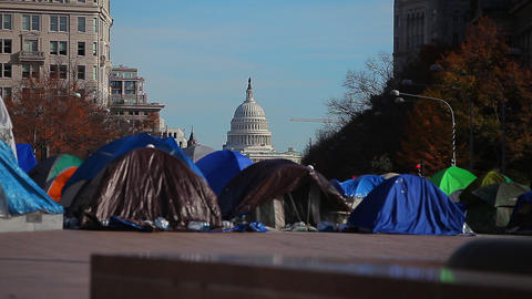 Static shot of tents during the Occupy DC protest at the Freedom Plaza in Washin Live Action