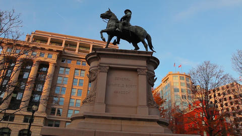 A panning down and then up shot of the General Winfield Scott Hancock statue Footage