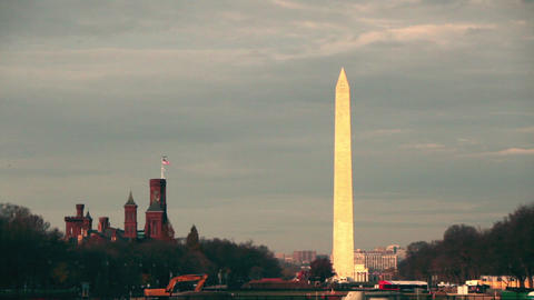 A static shot of the Washington Monument located in Washington DC in the morning Footage