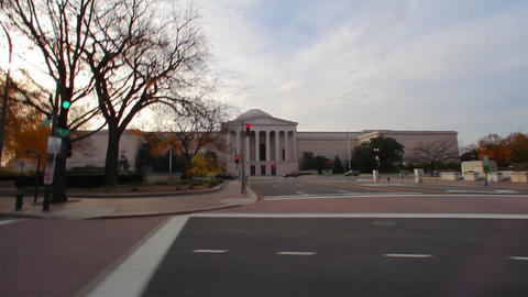Dolly shot of a government building with pillars in Washington DC Footage