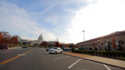 Tracking shot of a road leading to the United States Capitol Footage