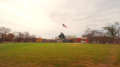 A panning shot from left to right of the Marine Corps War Memorial Footage