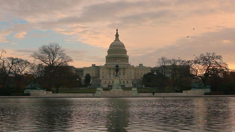 A time laspe static shot of the the U.S. Capitol at sunset in Washington DC Footage