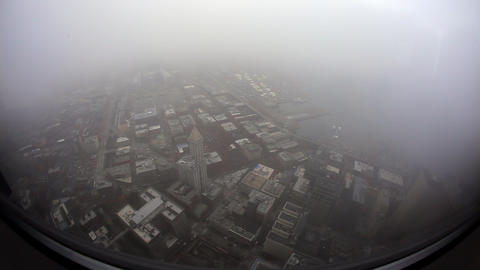 Super wide angle looking down from tall building into the city Footage