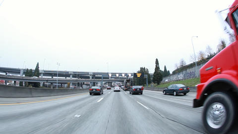 View from car driving in traffic on I-5 in Seattle Footage
