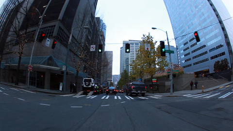 View from car driving around on the streets of Seattle Footage