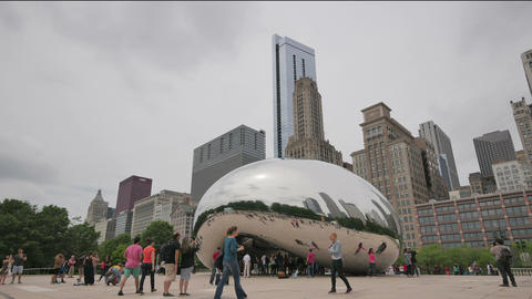 Hyper lapse Crowded Chicago Bean Monument in Millennium Park Footage