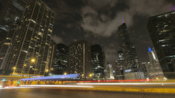 Chicago Skyscrapers at Night with Traffic Crossing the City Footage
