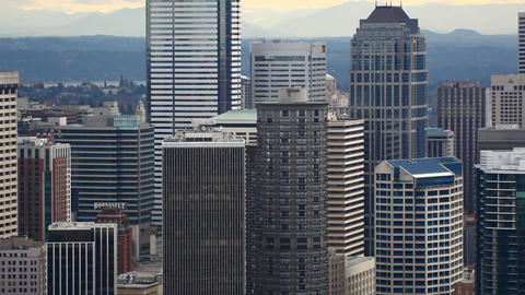 Panning zoomed view of the Seattle Skyline Footage