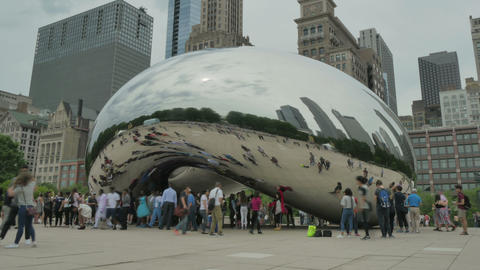 Crowded Chicago Bean Monument in Millennium Park Footage