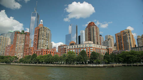 View of the Skyscrapers in New York while floating the East River Footage