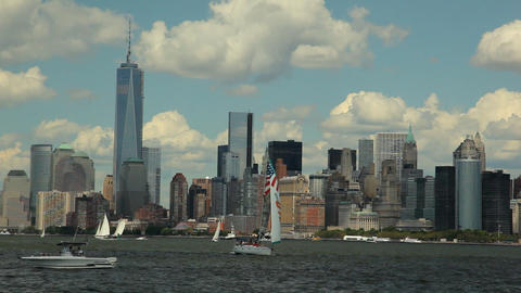 View of the Skyscrapers in New York while floating the Hudson River Footage
