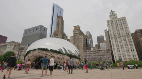 Tourists at the Chicago Bean Monument in Millennium Park Footage