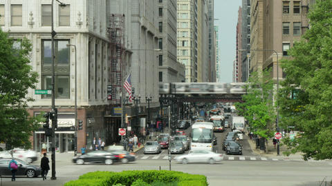 Traffic on the Streets of Downtown Chicago Time Lapse Footage