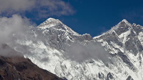 Time-lapse of clouds swirling around Mount Everest Footage