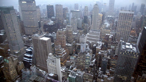 Static shot looking over Manhattan New York from the Rockefeller Center Live Action