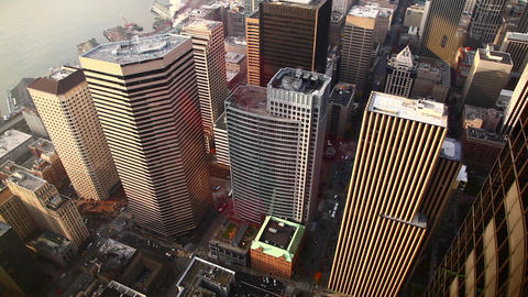 Static shot of buildings and traffic from above the city of Seattle looking down Footage