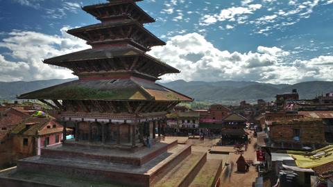 Time-lapse of Nyatapola temple and Taumadhi square in Bhaktapur, Nepal Footage