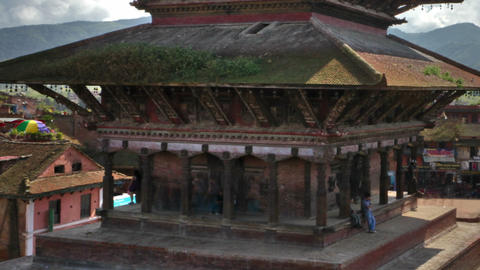 Time-lapse of Nyatapola temple and Taumadhi square in Bhaktapur, Nepal. Cropped Footage