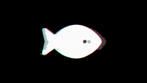 From the Glitch effect arises fish symbol. Then the TV turns off. Alpha channel Animation