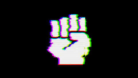 From the Glitch effect arises fist raised symbol. Then the TV turns off. Alpha Animation