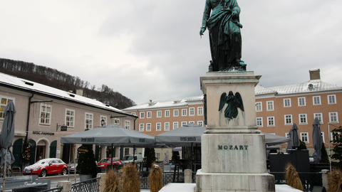 Mozart statue in Salzburg during winter, birth city of Mozart, genius of Footage