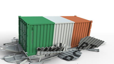 Container with flag of Ireland breaking container with IMPORT text. Conceptual Live Action