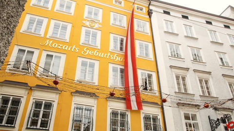 Mozart's birthplace in Salzburg during winter, birthplace of Mozart, genius of Footage