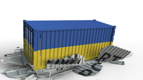 Container with flag of Ukraine breaking container with IMPORT text. Conceptual Live Action