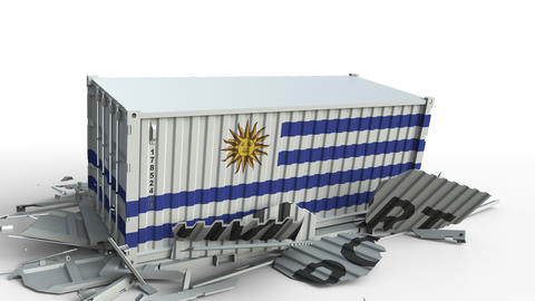 Cargo container with flag of Uruguay breaks container with IMPORT text Live Action