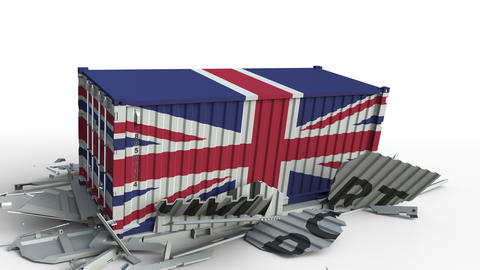 Cargo container with flag of Great Britain breaks container with IMPORT text Live Action