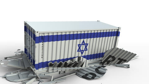 Cargo container with flag of Israel breaks container with IMPORT text Live Action