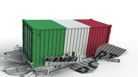 Container with flag of Italy breaking container with IMPORT text. Conceptual 3D Live Action