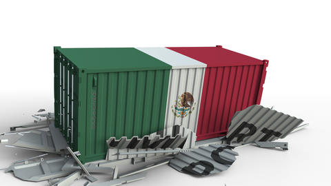 Container with flag of Mexico breaking container with IMPORT text. Conceptual 3D Live Action