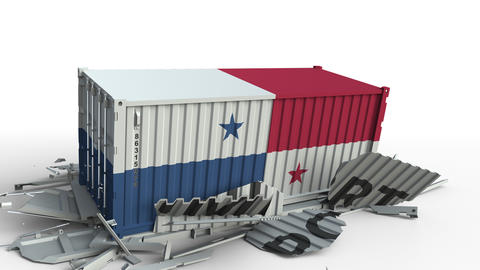 Container with flag of Panama breaking container with IMPORT text. Conceptual 3D Live Action