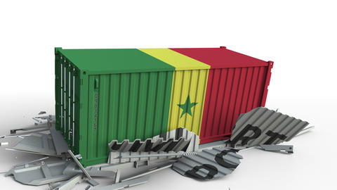 Container with IMPORT text being crashed with container with flag of Senegal Live Action
