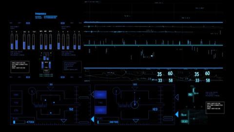 Hud infographics HiTech v2 wA Stock Video Footage