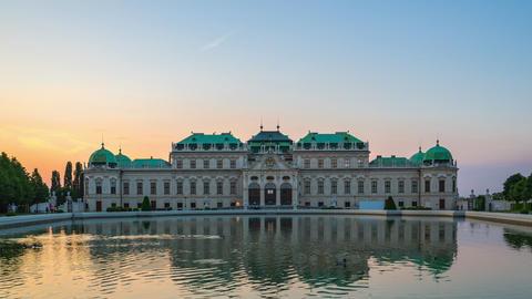 Belvedere Palace in Vienna, Austria at sunset Footage