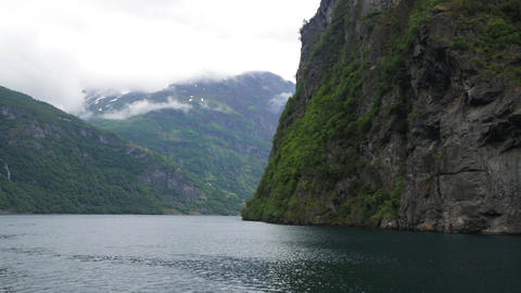 Panoramic view of Geiranger fjord Live Action