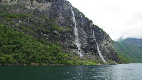 Waterfalls Seven Sisters, Geiranger fjord, Norway Live Action