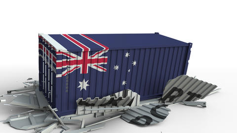 Cargo container with flag of Australia breaks container with EXPORT text Live Action