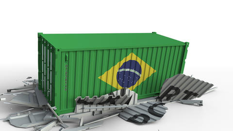 Container with flag of Brazil breaking container with EXPORT text. Conceptual 3D Live Action