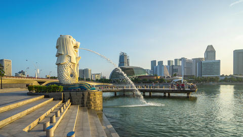 Merlion park is a Singapore landmark and major tourist attraction in Singapore Live Action