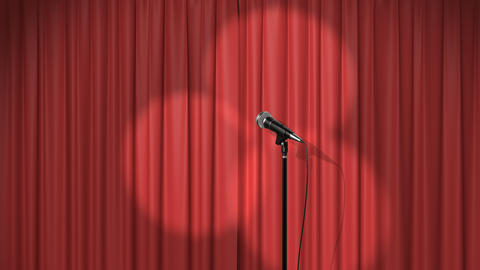Beautiful Red Curtain with Spotlights and a Microphone on Stage Animation
