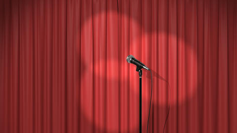 Beautiful Red Curtain with Spotlights and a Microphone on… Stock Video Footage