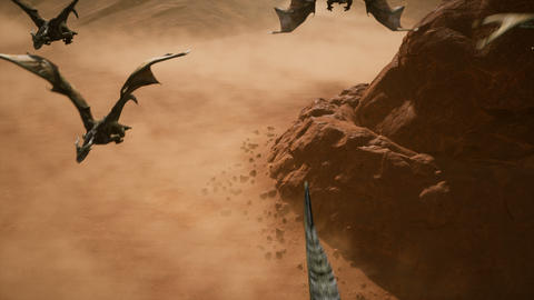 Ballsy a few dragons flying over the scorching desert on a Sunny day. 3D animation fantasy Animation